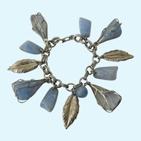Vintage Blue Caged Bead Charm Bracelet With Leaves