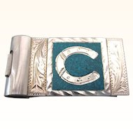 Signed Plata de Jalisco Sterling and Turquoise Money Clip, 21 Grams