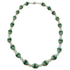 """Art Deco Green Czech Glass 16"""" Choker Necklace"""