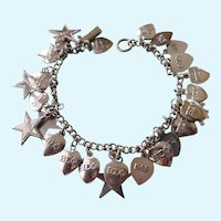 Terrific 1960's & 1970's Sorority Charm Bracelet, Sterling Bracelet, SP Sigma Phi Charms