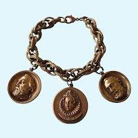 Vintage Chunky Bronze Tone Medallion Charm Bracelet