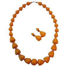 FINAL CLEARANCE   Vintage West Germany Chunky Necklace and Clip Earring Set, Orange Opaque Lucite Plastic - Red Tag Sale Item