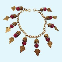 Vintage Gold Filled Charm Bracelet With Red Bead Tassel Charms