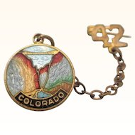 1942 State of Colorado Gold Filled Enamel Swag Pin