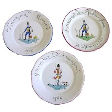 """Set of 3 Vintage French Faience 9-1/2"""" Cabinet Plates, Numbered"""