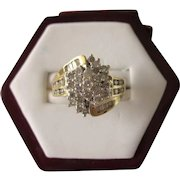 FINAL CLEARANCE   Dazzling Mid-20th Century 1 CTW Diamond White and Yellow Gold Cocktail Ring, Size 5-1/2