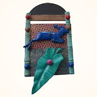 Vintage Metal Collage Brooch, Striking and Unusual