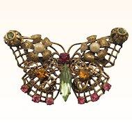 Vintage Filigree Jewel Encrusted Butterfly Brooch