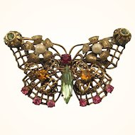 Vintage Filigree Jewel Encrusted Butterfly Brooch