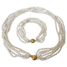 Natural Freshwater Pearl Multistrand Necklace and Bracelet Set, Fancy Clasp