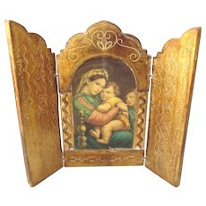 Gorgeous, Large Florentine Religious Triptych, Madonna and Child - Lovely!