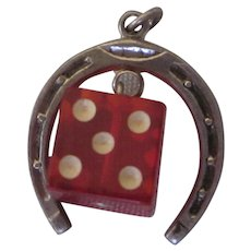 Vintage Sterling Horseshoe and Red Lucite Die Good Luck Gambling Charm Pendant - Red Tag Sale Item