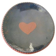 "Signed Ned Foltz 1983 5"" Redware Pennsylvania Dutch Plate, Heart Motif, Coggle Edge"