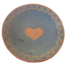"Signed Ned Foltz Pottery Pennsylvania Dutch 1982 9-1/4"" Redware Plate, Heart Motif, Coggle Edge"