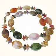"""Vintage Lucite Multi Color Marbled Bead 30"""" Rope Necklace"""