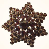 Vintage Victorian Revival Faux Bohemian Garnet Star Pin