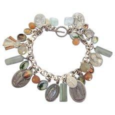 Vintage Religious Medal and Gemstone Charm Bracelet