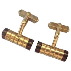 Distinctive Art Deco Gold Filled Lucite Barrel Cufflinks