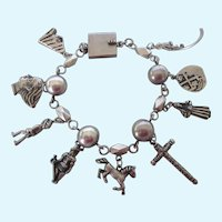 Spectacular, Unusual Mexican Motif Sterling Charm Bracelet, Oversized Charms, 53.7 Grams!