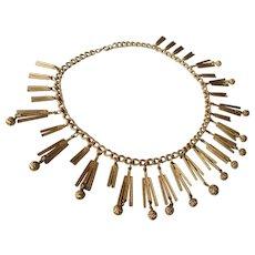 Vintage Egyptian Revival Bib Collar Brushed Goldtone Necklace
