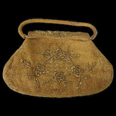 Scarce Large 1950's Intricate Gold Beaded Evening Handbag Marked Kishu Hong Kong, Mid-20th Century - Red Tag Sale Item