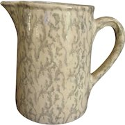 FINAL CLEARANCE  Vintage Sponge Ware Pitcher, Yellow Ware With Green