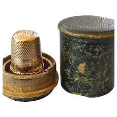 Antique Engraved 14k Thimble- Original Leather Case  Change