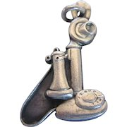 Vintage Sterling Bell Telephone Candlestick Old Fashioned Phone Charm