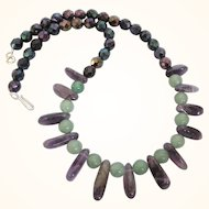 "Vintage Amethyst and Aventurine Gemstone Bead 18"" Necklace"
