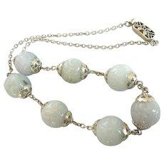 Elegant Large Carved Burmese Jade Bead Sterling Necklace
