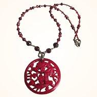 Vintage Dragon Pendant Necklace, Crystal Beads, Lucite Pendant