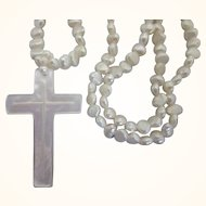 Freshwater Pearl Necklace With Mother of Pearl Carved Cross Pendant