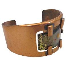Vintage Signed Matisse Copper and Enamel Asymmetric Cuff Bracelet