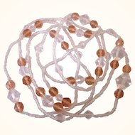 """Art Deco Pale Peach Crystal Bead 55"""" Rope Necklace"""