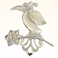 Vintage Huge Silvertone Tropical Bird and Flower Brooch - Gorgeous!