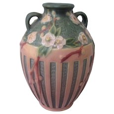 Early Mint Roseville Pink and Green Cherry Blossom Tree Double Handled Vase, Art Deco