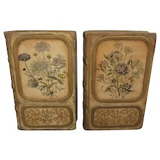 Pair of Vintage Borghese Bookends in Book Design, Decorated Chalkware