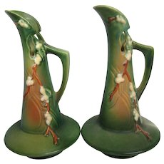 "Pair of Roseville Green Snowberry 10-1/2"" Tall Ewers Vases"