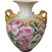 FINAL CLEARANCE  Breathtaking Large Belleek Hand Painted Handled Vase, Cherub Handles, Ceramic Arts Company, Circa 1900