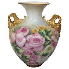 Signed Breathtaking Antique Large Belleek Hand Painted Handled Vase, Cherub Handles, Ceramic Arts Company, Circa 1900