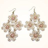 Enamel Daisy Enamel and Faux Pearl Chandelier Pierced Earrings