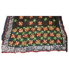 """FINAL CLEARANCE  Gorgeous Vintage 82"""" by 36"""" Silk Embroidered Beaded Shawl, Wrap, Coverlet, India"""