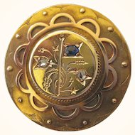 Exceptional Victorian 14K Gold Diamond and Sapphire Locket Pin Pendant Aesthetic Movement, 11.8 Grams