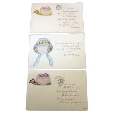 Millinery Hat Easter Postcard Collection of Three Cards