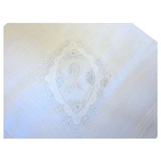 Vintage Embroidered Initial R Cotton White Handkerchief