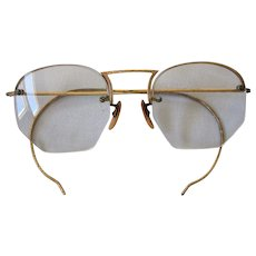 Vintage Gold Filled Semi-Rimless Frames, Bifocal Prescription, Small Size
