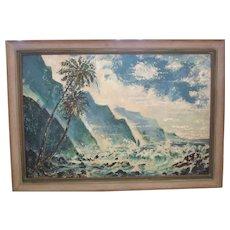 CLEARANCE!  Original Huge Seascape Painted by Franz Nicholas Bachelin, Listed Artist, California Artist, Hollywood Art Director