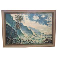 CLEARANCE!  Original Huge Seascape Painted by Franz Nicholas Bachelin, Listed Artist, California Artist, Hollywood Art Director