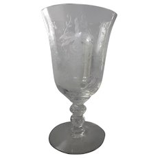 """Rare Heisey 'Orchid' Pattern 6-1/8"""" Etched Water Goblet"""