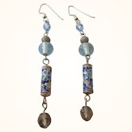 Vintage Cloisonne and Crystal Long Dangle Earrings
